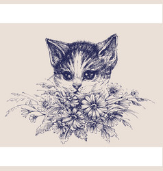 cute cat portrait with a bunch of flowers vector image