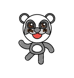 drawing panda animal character vector image vector image