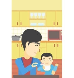 Father feeding baby vector