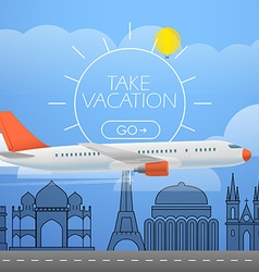 Flying aircraft in the sky Vacation concept vector image vector image