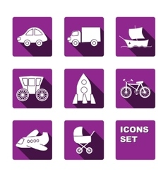 Funny transport icons set vector image vector image