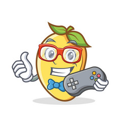 Gamer mango character cartoon mascot vector