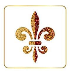 Golden fleur-de-lis heraldic emblem 1 vector image