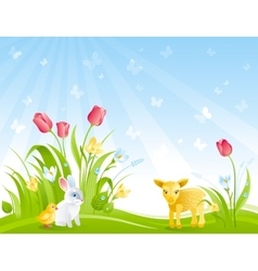 Happy easter banner border spring landscape bunny vector