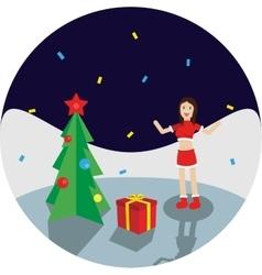 Happy Girl Near New Year Tree vector image