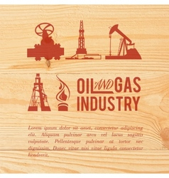 Industry icons pained over wood vector