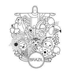 Monochrome brazil travel background for flyer vector image vector image