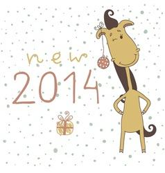 New year card with cartoon horse vector