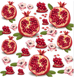 pomegranate realistic pattern background vector image vector image