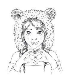 portrait of a cute girl in animal hat vector image vector image