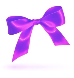 Purple glossy silk bow isolated on white vector image