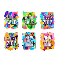 Sale colorful abstract background banners set vector