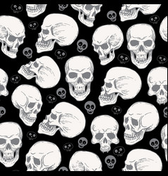 seamless pattern with skulls on black blackground vector image