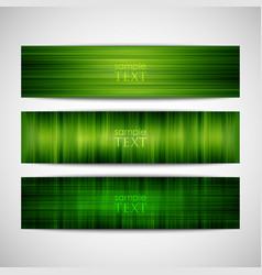 Set of green striped banners vector