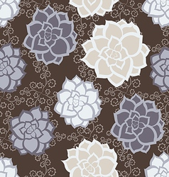 succulent floral seamless pattern vector image