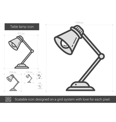 Table lamp line icon vector