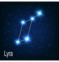 The constellation lyra star in the night sky vector