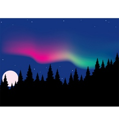 vector aurora polaris over forest vector image vector image