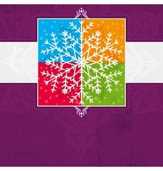 violet christmas card with snowflake vector image