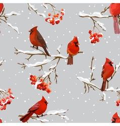 Winter birds with rowan berries retro background vector