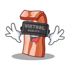 with virtual reality bacon mascot cartoon style vector image