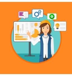 Woman making business presentation vector image vector image