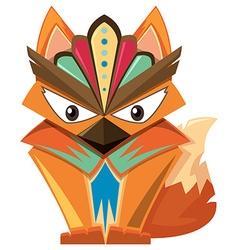 Wooden craft shape of fox vector image