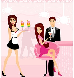 Young couple flirt and drink champagne in the club vector