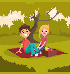 Young happy couple sitting on picnic blanket in vector