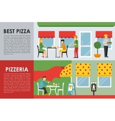 Best pizza and pizzeria flat concept web vector