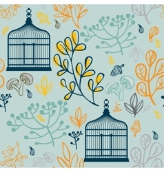 Autumn seamless pattern with vintage birdcages vector