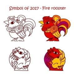 Symbol of 2017 - red fire rooster vector