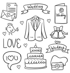 Collection of wedding element doodles vector