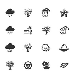 seasons icons set vector image