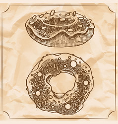two sweet vintage donuts with sprinkles frosting vector image