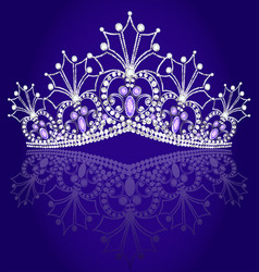 Crown diadem feminine with reflection on turn vector