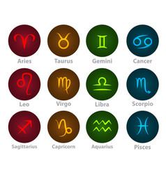 zodiac signs circle neon ball icon vector image