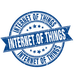 Internet of things round grunge ribbon stamp vector