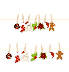 Christmas clothespins vector