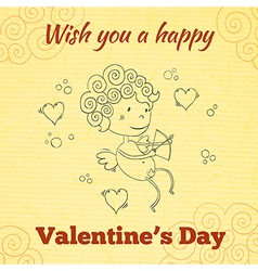Wish you a happy valentines day greeting card vector