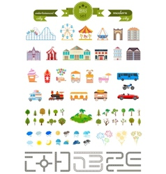 Set of elements for creating your own modern city vector