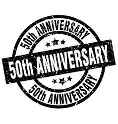 50th anniversary round grunge black stamp vector