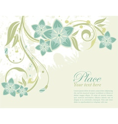 Grunge decorative floral frame with bud element fo vector