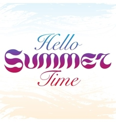 Handdrawn blue red and purple text hello summer vector