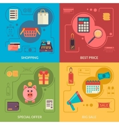 Four square composition banners with shopping vector image