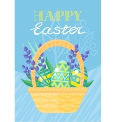 Happy easter holiday card design flat vector