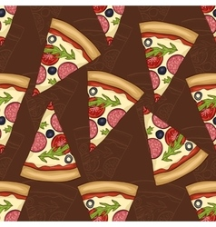 Seamless pattern two types of pizza salami vector