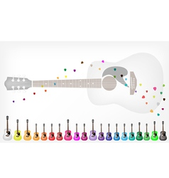 A Set of Colorful Acoustic Guitars Background vector image