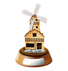 A trophy stand with a wooden house vector image vector image