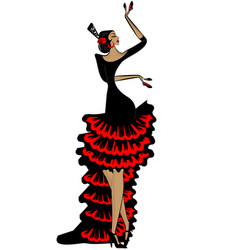 Abstract flamenco woman in black red vector